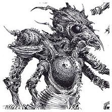 Ian Miller | GW, Realm of Chaos, character sketch 2<br> Beak aliens
