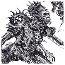 Ian Miller | GW, Realm of Chaos, character sketch 6<br> Webbed feet aliens