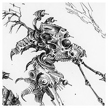 Ian Miller | GW, Realm of Chaos, character sketch 10<br> Armour-piercing venom