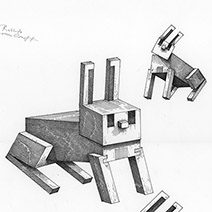 Ian Miller | Rabbits, study sheet 4