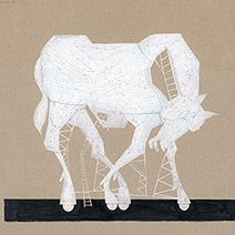 Neil Packer   He built a hollow horse made out of wood