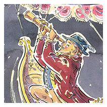 Paul Cox | Hans Pfaall above Rotterdam as he flies to the Moon